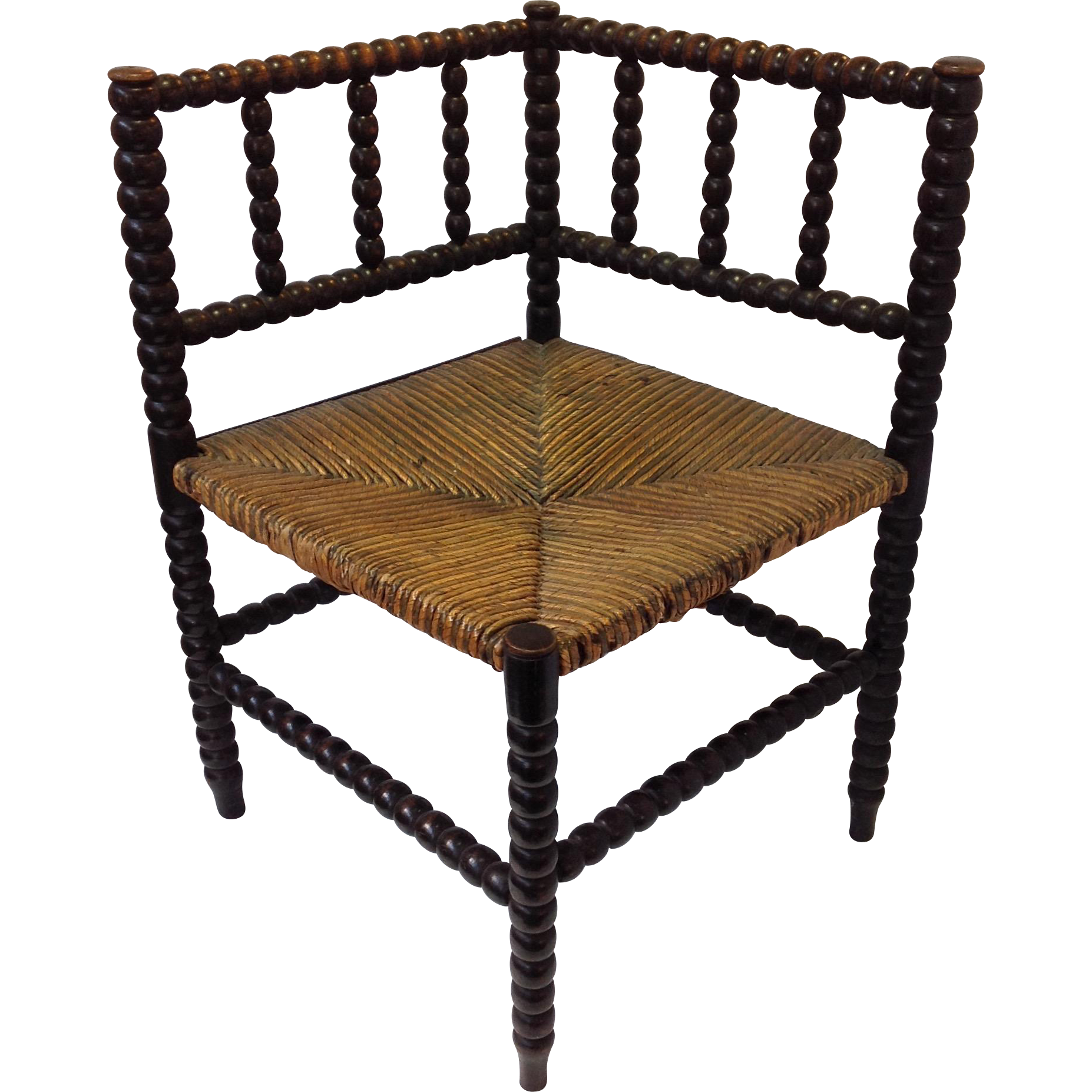 english corner chair bobbin turned with woven rush seat antique from