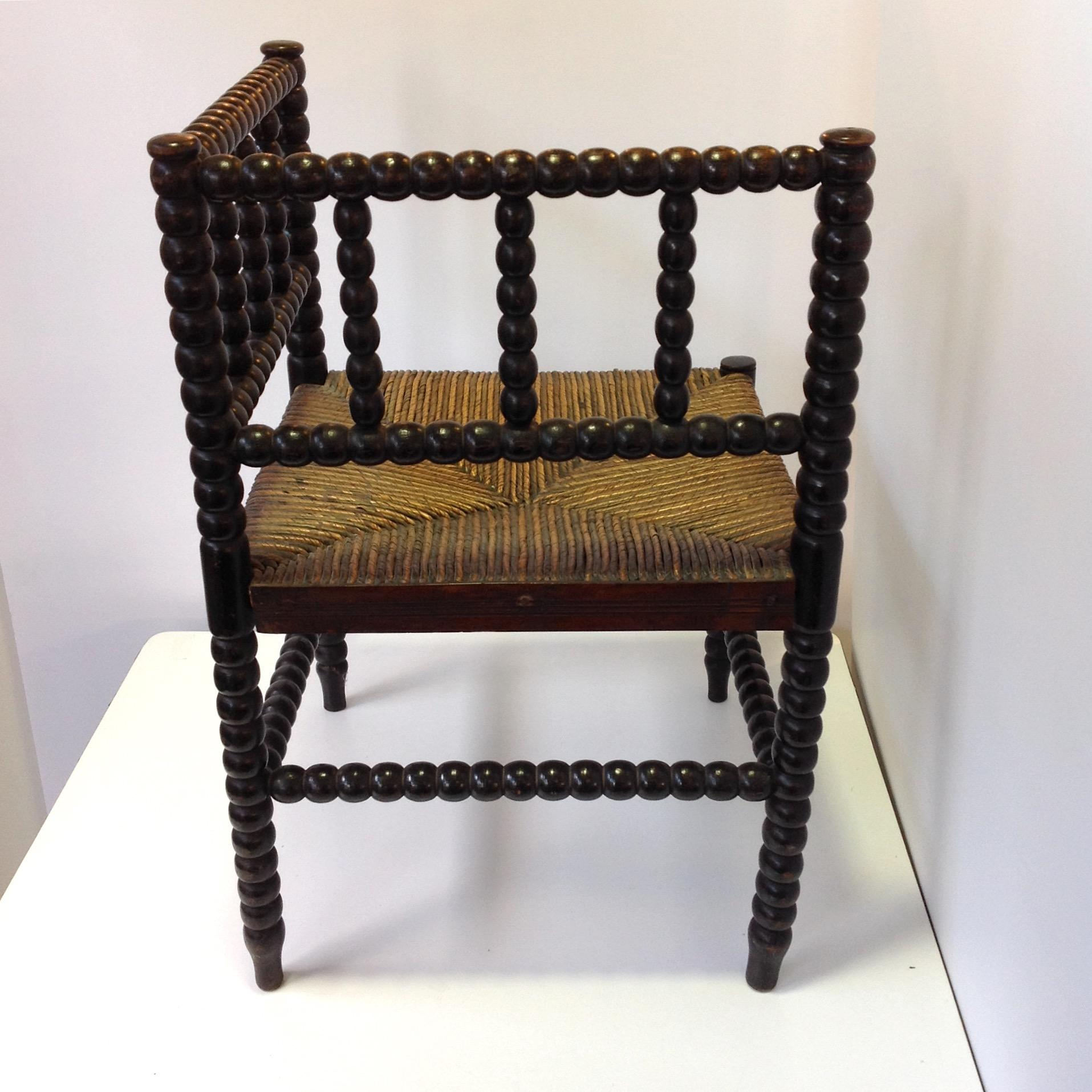 English Corner Chair Bobbin Turned with Woven Rush Seat Antique