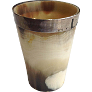 """Horn Cup With Sterling Rim 19th Century 3"""""""