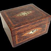 Walnut Burl Box  Mother of Pearl Inlay Late 19th Century