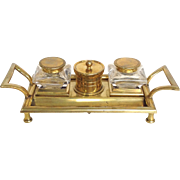 Antique Footed Brass Inkstand with Pair of Inkwells