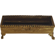 Brass Jewelry Casket with Beveled Glass Lid Late 19th