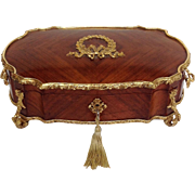 French Footed Kingwood Jewelry Casket with Gilt Bronze by  Alphonse Tahan Paris 19th c.