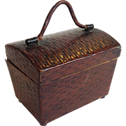 Picnic Hamper Traveling Leather Inkwell Late 19th Century