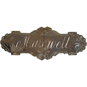 'Maxwell' Name Brooch England Sterling Circa 1908-09