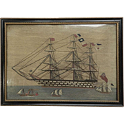 Sailor's Woolwork Ship Picture 19th c