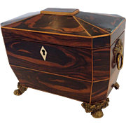Tea Caddy Coromandel Wood English Early 19th c.