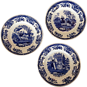 "Creil et Montereau French Blue and White  8 5/8""  Three Plates"