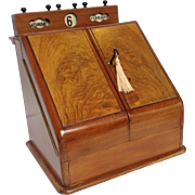 Walnut Stationary Chest Calender and Inkwell Circa 1880