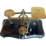 Footed Brass Scale with Green Marble Base, Late 19th Century