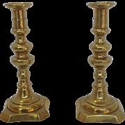 Pair of Brass Push Up Candlesticks England
