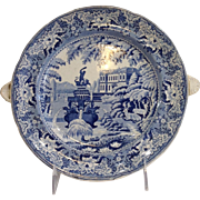 Blue and White Transferware Hot Water Plate 1850's