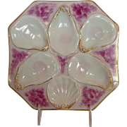 Oyster Plate White Pink and Gold 8""