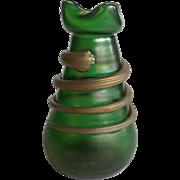 Green Iridescent Art Glass Vase