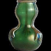 Iridescent Art Glass Vase Small Green
