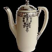 Lenox Belleek Silver Overlay Demitasse Pot Circa 1910