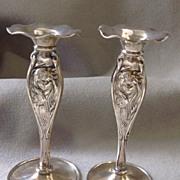 Rare Pair Art Nouveau Vases-  Faces By Mauser