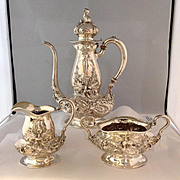 Kerr Demitasse Sterling Silver 4 Piece Set with Tray