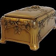 French Art Nouveau Gilded Bronze Box Signed Louchet