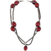 Sterling Silver and Amber Bead Necklace 19thc