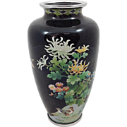 Ando Cloisonné Birds And Mums Vase Silver Wire Japanese