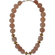 Vintage Rose Quartz and Gold Beads