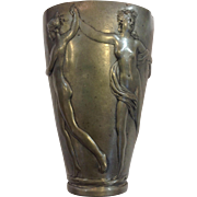 Mythological Nude Dancers Pewter Vase 19th c