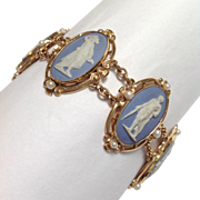 Wedgwood Cameo And Pearl 14k Bracelet