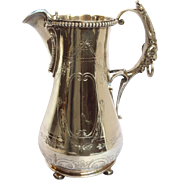 Coin Silver Pitcher San Francisco W.K. Vanderslice Figural Ram Handle 11""