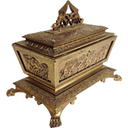 Cherubs Gilt Bronze Jewelry Casket or Box 19th Century