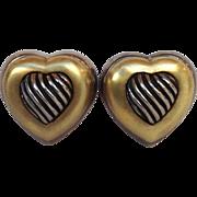 David Yurman Heart Earrings Sterling 18 Karat Gold