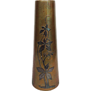 Bronze Applied Sterling Vase Floral 10""