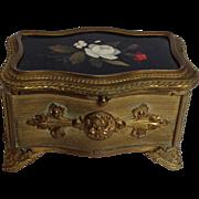"Pietra Dura Bronze Box Signed Guttin 4"""