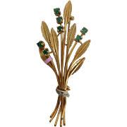 Emerald with Diamond Bouquet Pin Italy 18 Carat