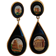 Micro-Mosaic Georgian Pierced Drop Earrings