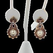 Victorian Pearl and Enamel Earrings 14k