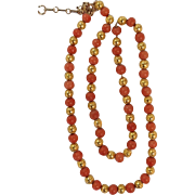 Coral and Etruscan Gold Bead Necklace 14K