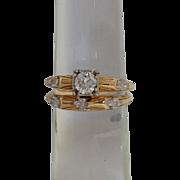 Diamond Wedding Set 14k Yellow Rings