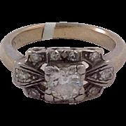 Diamond Ring Art Deco 14 Karat White Gold