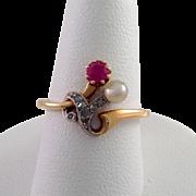 Edwardian Ruby Pearl and Diamond Ring 18 Karat Platinum