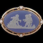 Wedgwood Pearl Gold Pin 14 Karat Circa 1951