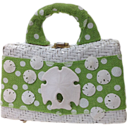 White Straw Handbag with Sand Dollars