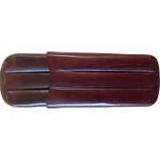 Vintage Leather Cigar Case Red Brown