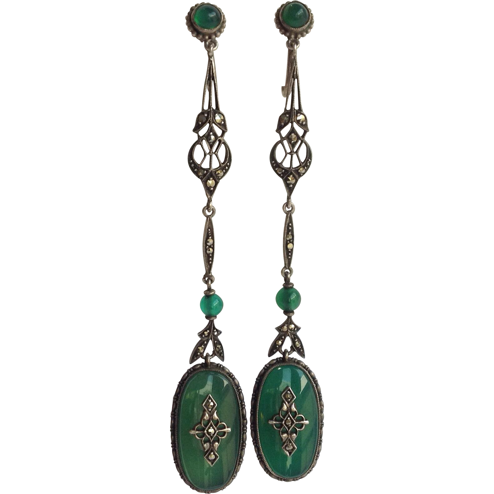 deco chrysoprase earrings 850 silver 3 quot from