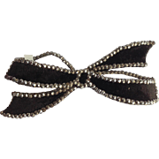 Victorian Bow Pin Velvet And Cut Steel