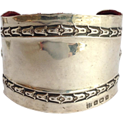 Antique Tulip Cuff English Sterling Bracelet