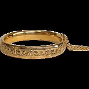 Vintage Floral Repoussé Bangle Bracelet Gold Filled Circa 1930's