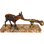 Bronze Roe Deer Figure with Horn on Marble Base