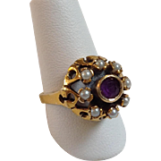 Amethyst Seed Pearls Ring Antique 14 Karat Size 5.25