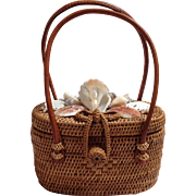 Seashell And Seagrass Basket Handbag Vintage